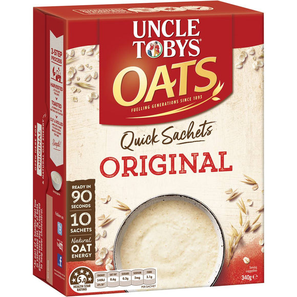 Uncle Tobys Quick Oats Sachets Original 10 pack