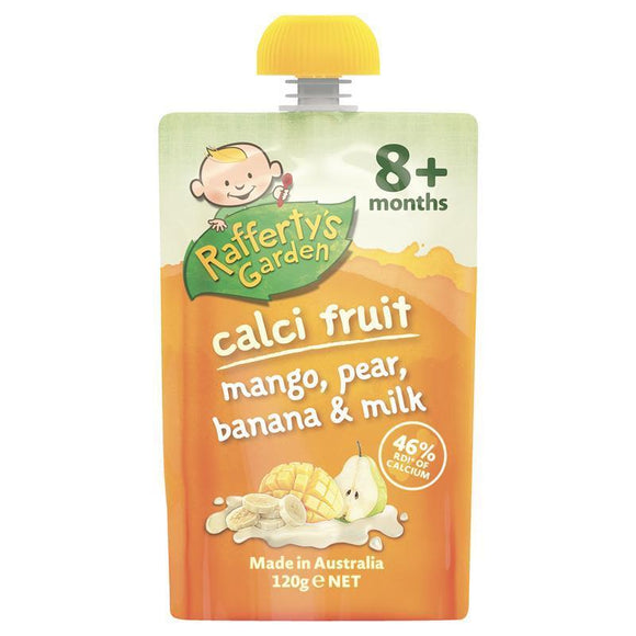 Raffertys Garden 8+ Months Calci-Fruit Mango Pear Banana and Milk 120g