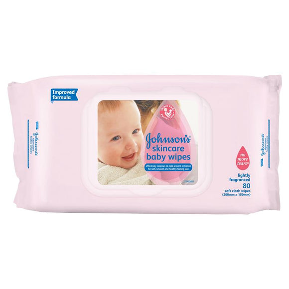 Johnson's Baby Skincare Wipes Lightly Fragranced Strong 80