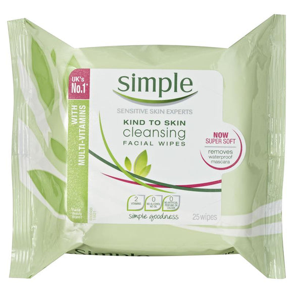 Simple Kind To Skin Facial Wipes Cleansing 25 Wipes