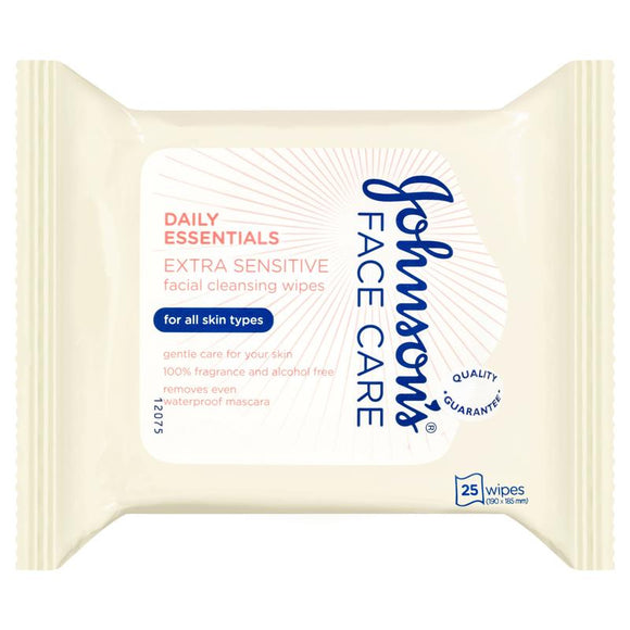 Johnson's Face Care Daily Essentials Facial Cleansing Wipes Extra Sensitive 25 Pack