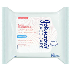 Johnson's Face Care Daily Essentials Moisturising Dry Skin Wipes 25 Pack