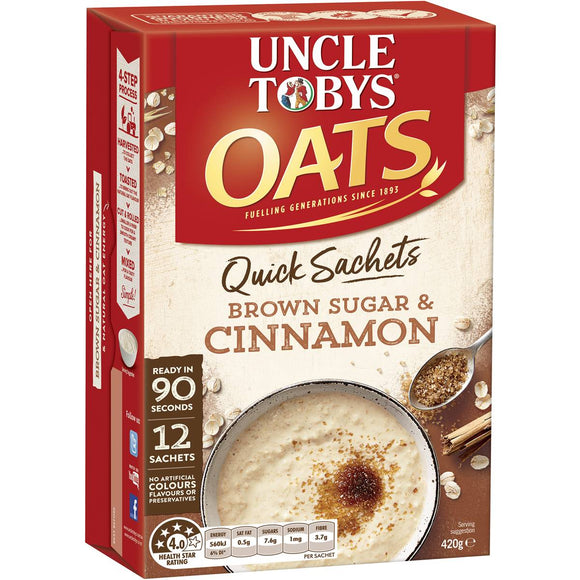 Uncle Tobys Quick Oats Sachets Brown Sugar & Cinnamon 12 pack