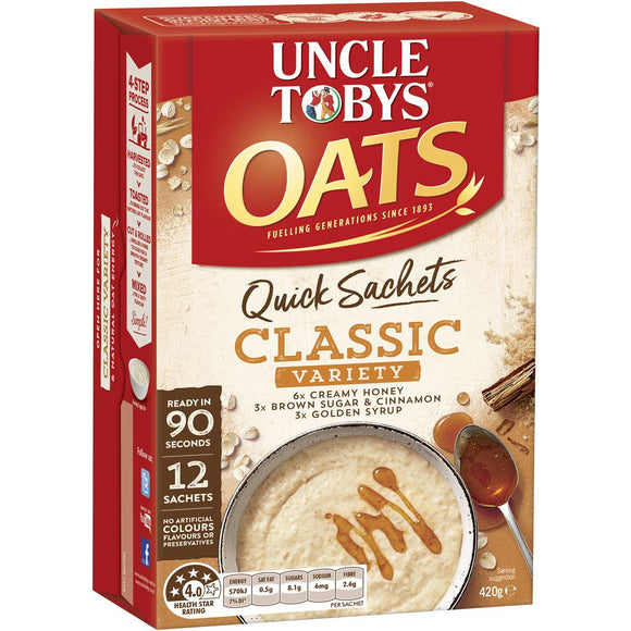 Uncle Tobys Quick Oats Sachets Variety Pack 12pk