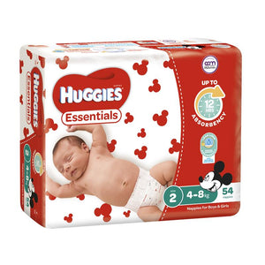 Huggies Essentials Size 2 4-8kg 54 Nappies
