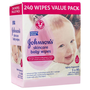 Johnson's Skincare Baby Wipes Lightly Fragranced 3 x 80 Pack