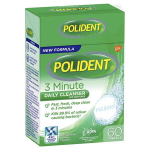 Polident Denture Cleanser Fresh Active Tablets 60 Pack (Exclusive Size)