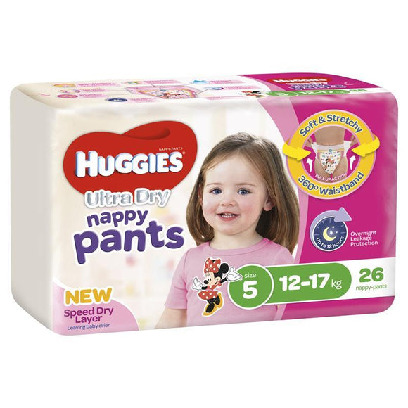Huggies Ultra Dry Nappy Pants Size 5 12-17kg Girl 26 Pack