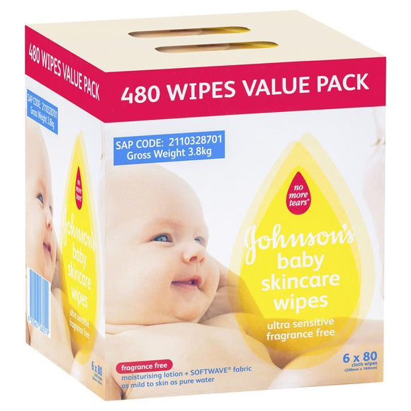 Johnson's Baby Skincare Wipes Ultra Sensitive Fragrance Free 6 x 80 Pack