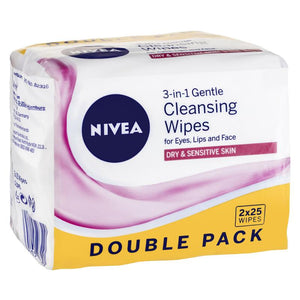 Nivea Visage Daily Essentials Gentle Facial Wipes 25 Twin Pack