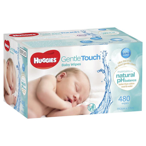 Huggies Gentle Touch Baby Wipes 480 Pack