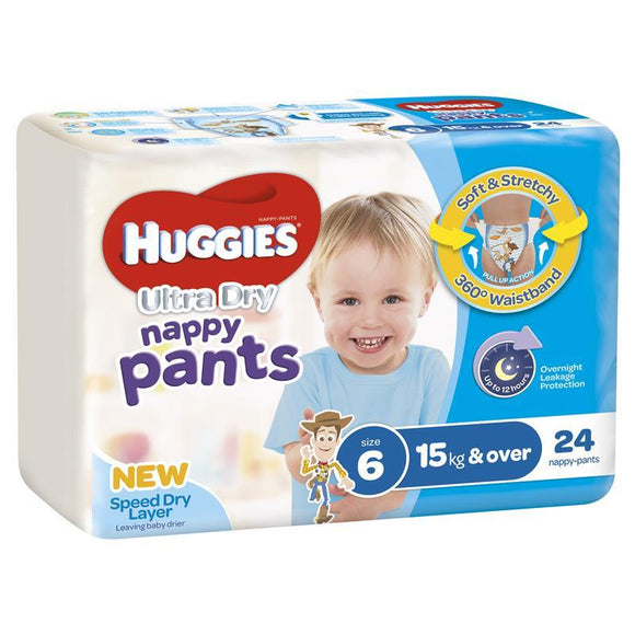 Huggies Ultra Dry Nappy Pants Size 6 15kg & Over Boy 24 Pack