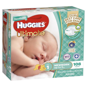 Huggies Jumbo Ultimate Newborn 108 Pack