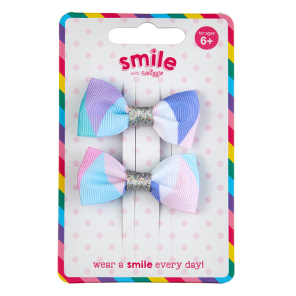 Smile Bows Hair Clips Pack X2 = MIX