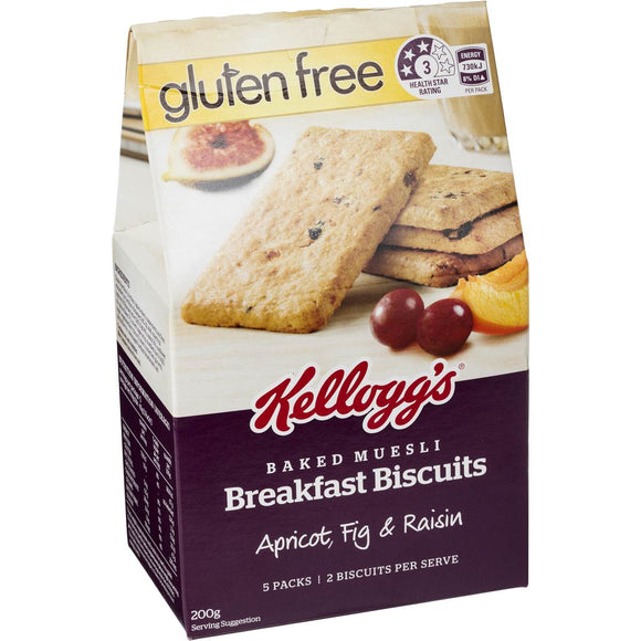 Kellogg's Breakfast Biscuits Gluten Free Apricot Fig & Raisin 5pk 200g