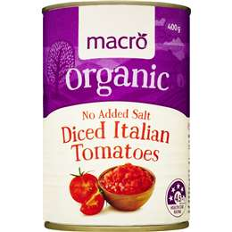 Macro Organic Tomatoes Diced No Added Salt 400g