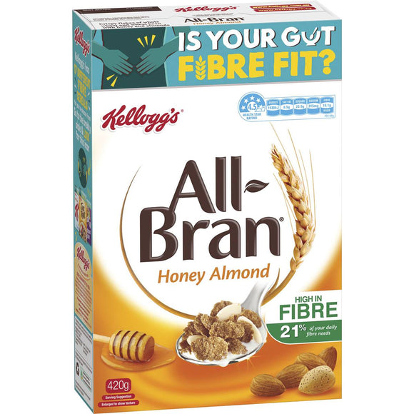 Kellogg's All Bran Honey Almond Wheat Flakes 420g