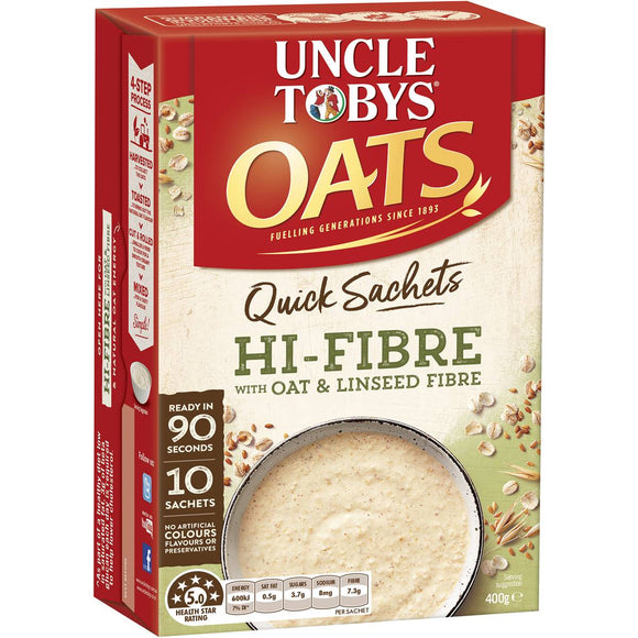 Uncle Tobys Quick Oats Sachets High Fibre 10pk 400g