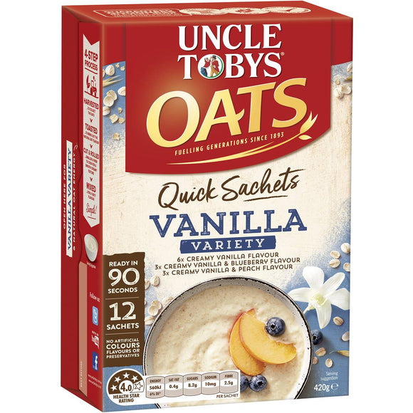 Uncle Tobys Quick Oats Variety Pack Vanilla 12pk