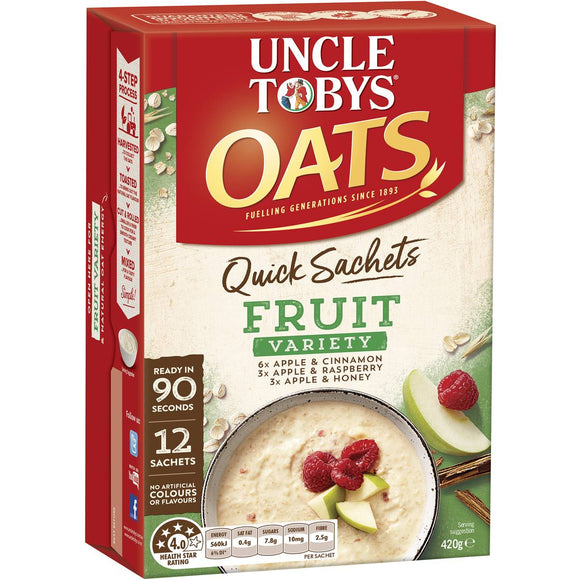 Uncle Tobys Quick Oats Sachets Fruit Variety 12 pack
