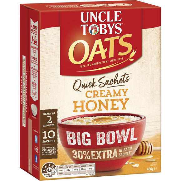 Uncle Tobys Quick Oats Sachets Big Bowl Honey 10pk 460g
