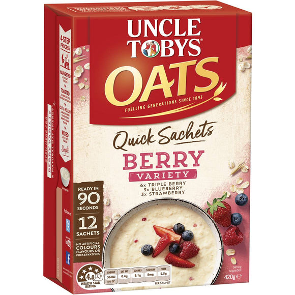 Uncle Tobys Quick Oats Sachets Berry Variety 12pk 420g