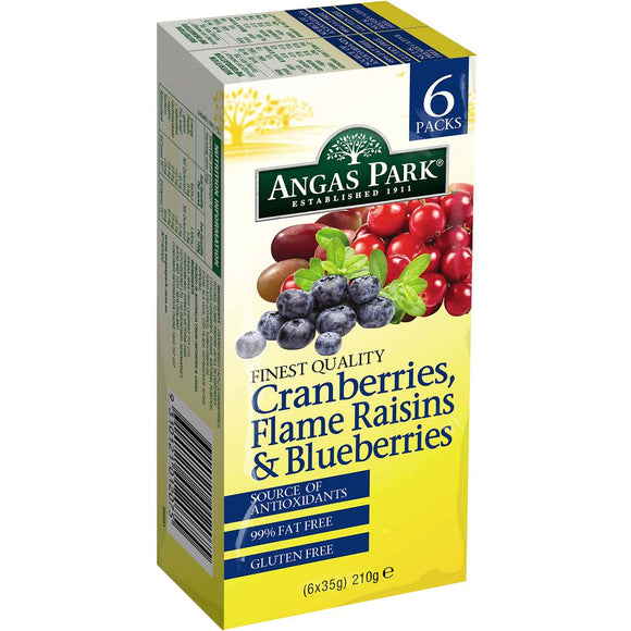 Angus Park Cranberries Raisins & Blueberrys 6pk 180g