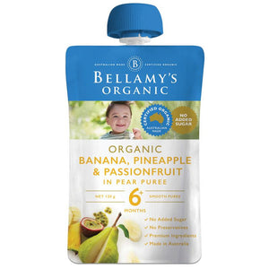 Bellamy's Organic Exotic Fruits Banana/Pineapple & Passionfruit In Pear Puree 120g