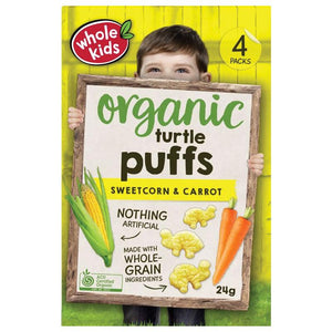 Whole Kids Organic Turtle Puffs Sweetcorn & Carrot 24g 4 pack