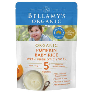Bellamy's Organic Pumpkin Baby Rice with Prebiotic 125g