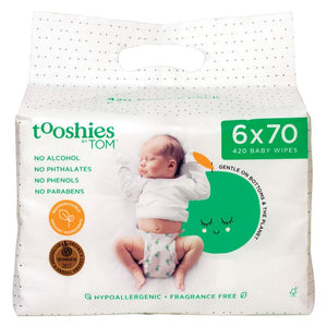 Tooshies By TOM Baby Wipes Fragrance Free 6 x 70 Pack