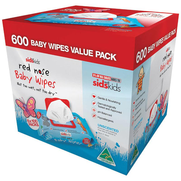 SIDS and Kids Red Nose Baby Wipes Unscented 600 Wipes