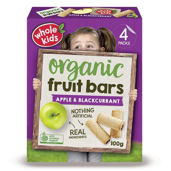 Whole Kids Organic Fruit Bars Apple & Blackcurrant 25g 4 Pack