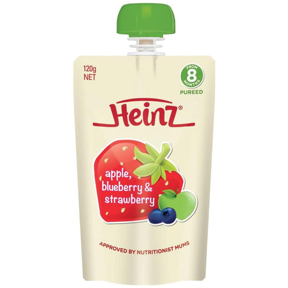 Heinz Apple Blueberry & Strawberry Pouch 120g 8m+