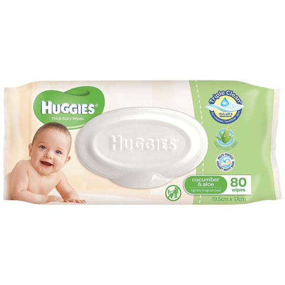 Huggies Cucumber and Aloe Baby Wipes 80 Pack