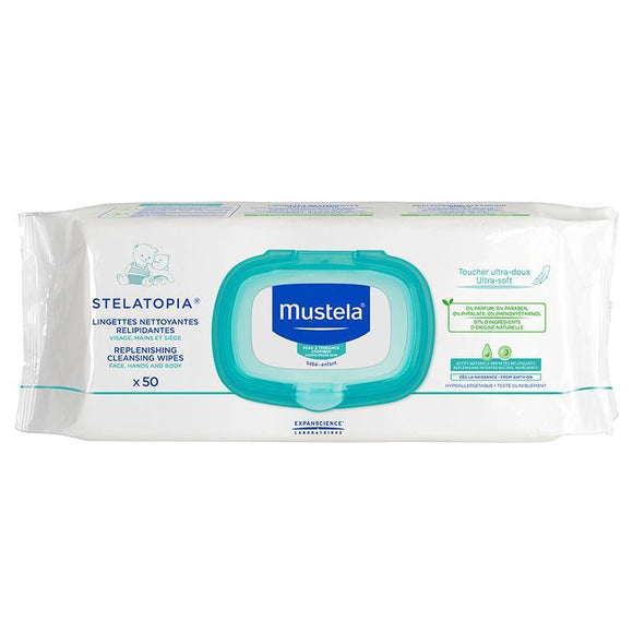 Mustela Stelatopia Replenishing Cleansing Wipes 50 Pack Online Only