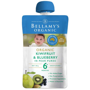 Bellamy's Organic Exotic Fruits Kiwifruit & Blueberry In Pear Puree 120g