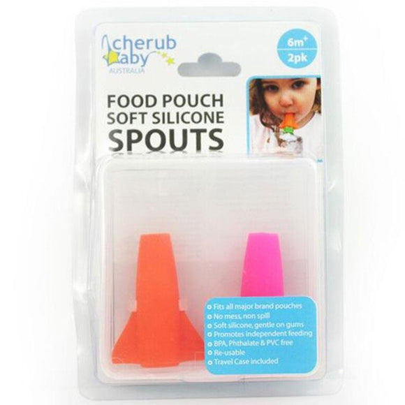 Cherub Baby Food Pouch Spout Pink & Orange 2 Pack