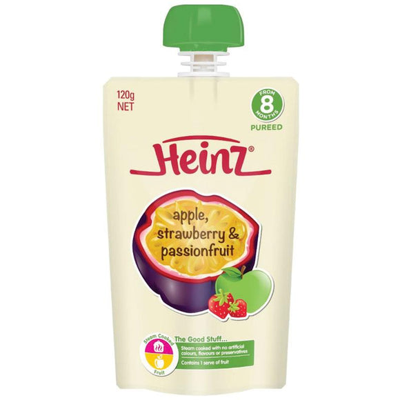 Heinz Apple Strawberry & Passionfruit Pouch 120g 8m+