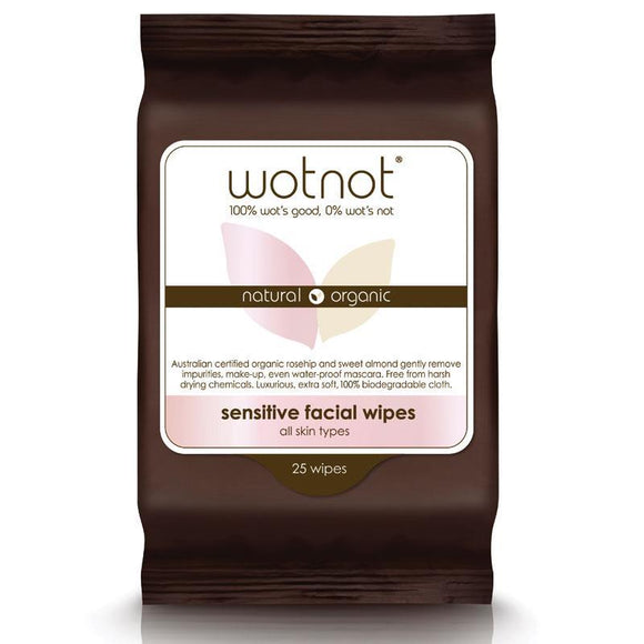 WotNot Natural Organic Sensitive Facial Wipes All Skin Types 25