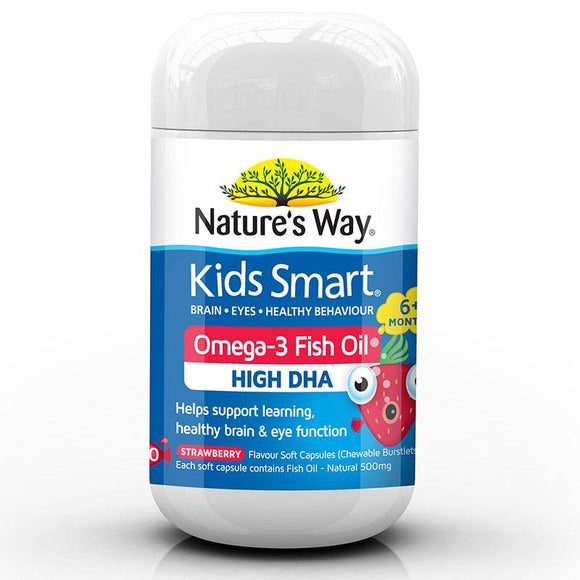 Nature's Way Kids Smart Omega-3 Fish Oil Strawberry Flavour 50 Chewable Capsules