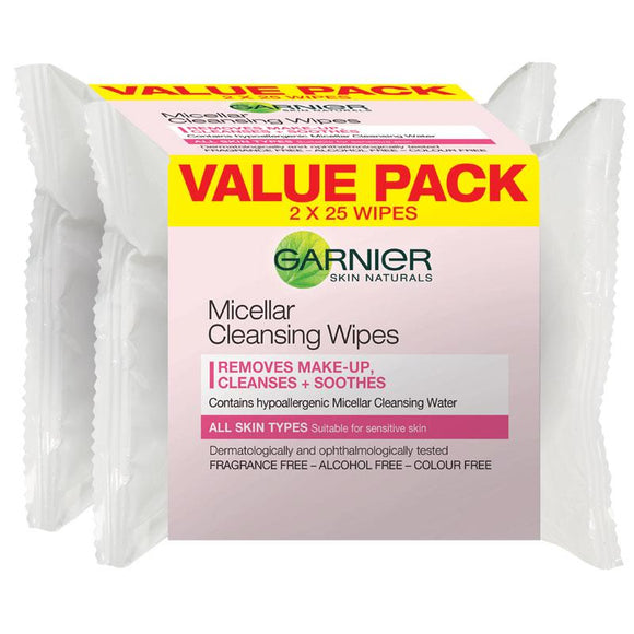 Garnier Micellar Cleansing Wipes 2 x 25 Pack