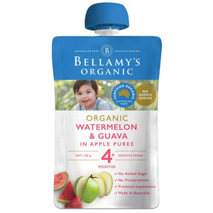 Bellamy's Organic Exotic Fruits Watermelon & Guava In Apple Puree 120g