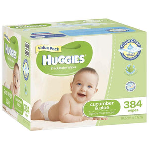 Huggies Cucumber and Aloe Baby Wipes 384 Pack