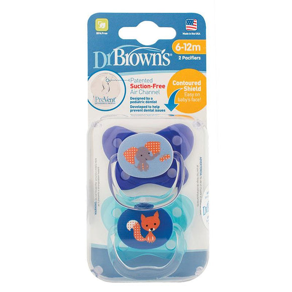 Dr Browns Prevent Contoured Pacifier Stage 2 Blue 6-12 Months 2 Pack Online Only