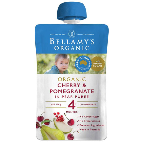 Bellamy's Organic Exotic Fruits Cherry & Pomegranate In Pear Puree 120g