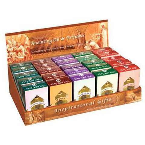 Anointing Oil Display Box with 25 Oil Assortment - Holy Land Gifts