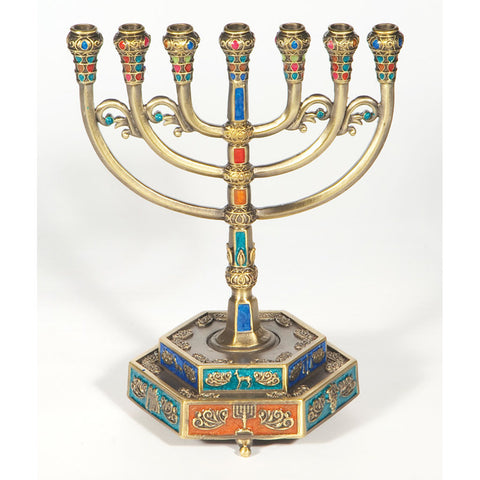 12 Tribes Menorah with Hexagon Base with Color - Holy Land Gifts