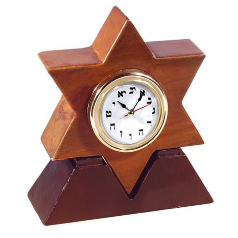 Star of David Hebrew Wood Clock