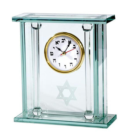 Star of David Hebrew Glass Mantel Clock